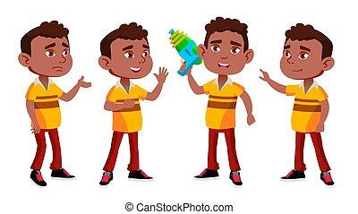 preschool., person., niño, cheerful., joven, norteamericano, gun., design., aislado, ilustración, tela, jardín de la infancia, caricatura, cartel, negro, vector., folleto, afro, agua, niño, posturas, conjunto