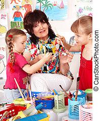preschool., pintura, profesor, niños