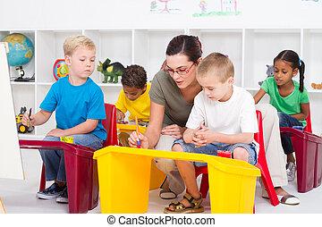 preschool, scholieren, en, leraar