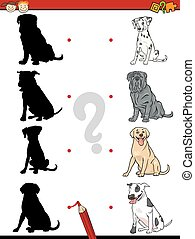 preschool shadow task with dogs