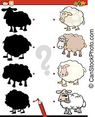 Cartoon Illustration of Education Shadow Game for Preschool Children with Sheep Farm Animal Characters