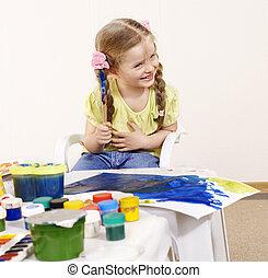 preschool., tableau enfant