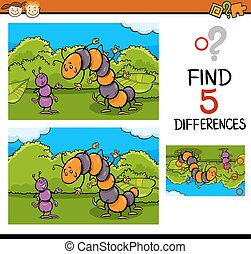 preschool task of differences - Cartoon Illustration of...