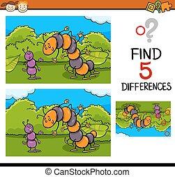 preschool task of differences - Cartoon Illustration of...