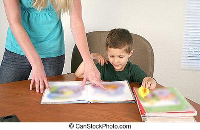 Preschool teacher and student