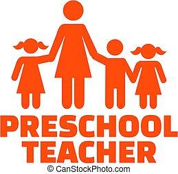 Preschool teacher with icon