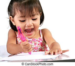 Three Year Old Asian Girl playing with Pen and Paper