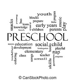 Preschool Word Cloud Concept in black and white with great...