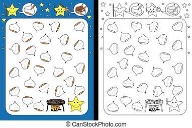 Preschool worksheet for practicing fine motor skills - tracing dashed lines on chestnuts