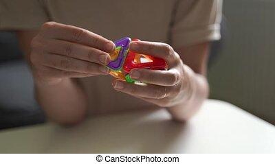 preschooler., accumulation, magnétique, fin, toy., jouer, ...
