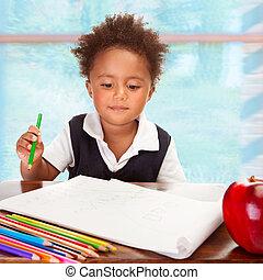 preschooler, africaine, mignon