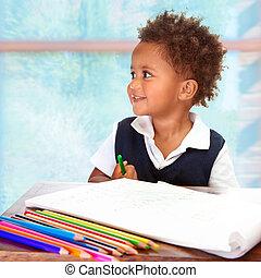 preschooler, africano, lindo