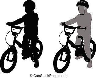 preschooler bicyclist silhouette