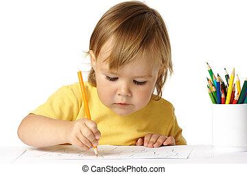 preschooler, concentré, dessin, elle