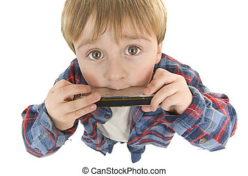 preschooler, cow-boy, jeux, harmonica