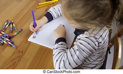 preschooler, dessine, drapeaux