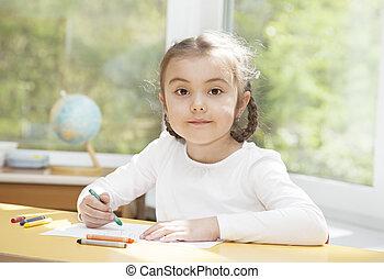 preschooler, girl, dessin, crayons