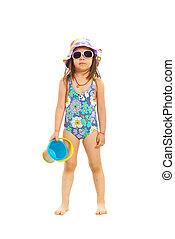 Preschooler girl ready for beach