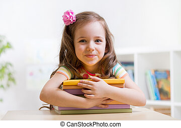 preschooler, mignon, girl, livres, enfant