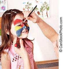 Preschooler, niño, Pintura, cara