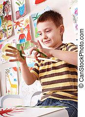 preschooler, painting., niño