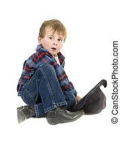 preschooler, sitzt, cowboy, boden