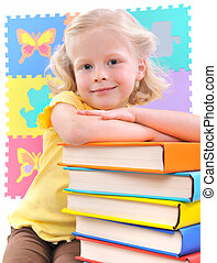 preschooler - smiling little girl with book isolated on...