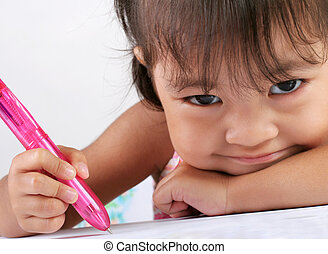 Preschooler - Three Year Old Asian Girl with a Pen and Paper