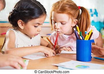 preschoolers, かわいい, 図画, カラフルである, 鉛筆