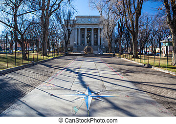 Prescott Yavapai Court House on a cold winter's morning in ...