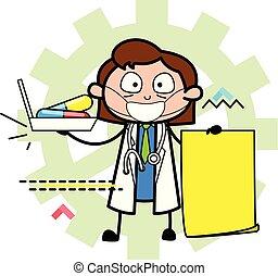 prescrição, doutor, mostrando, ilustração, vetorial, caricatura