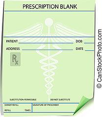 prescrição, forma, em branco