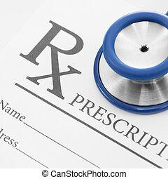 prescrição, forma, médico, -, 1, estetoscópio, relação