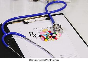 prescrição, forma, médico, -, material, em branco, tabela, farmacêutico, pílulas