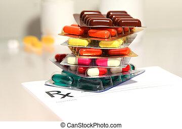 prescrição, forma, médico, -, material, em branco, tabela, pílulas