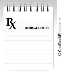 prescrição, ilustração, em branco