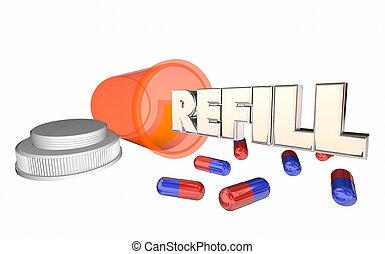 prescrição, ilustração, executando, garrafa, medicina, reenchimento, saída, pílula, 3d