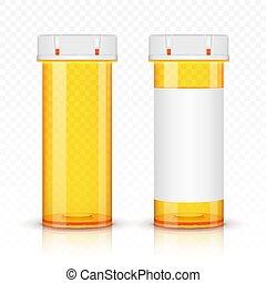 prescrição, isolado, bottles., experiência., medicina, transparente, vazio
