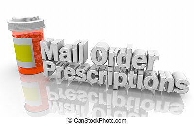 prescrições, ilustração, ordem, garrafa, medicina, correio, pílulas, 3d