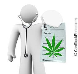 prescripción, doctor, médico, -, marijuana, tenencia