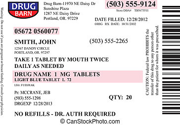 prescripción, etiqueta, vector