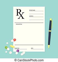 prescripción, médico, vacío, píldoras, forma, rx