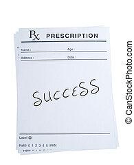 prescripción, para, éxito