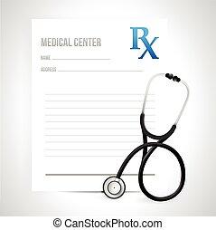 prescripción, y, estetoscopio, ilustración