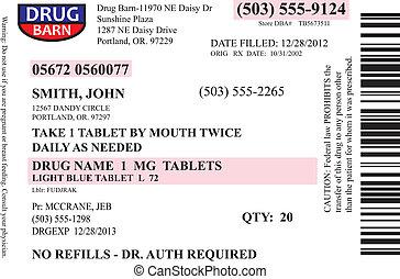prescription, étiquette, vecteur