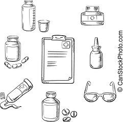 Prescription and medical sketch icons