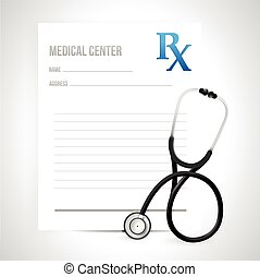 prescription and stethoscope illustration design over a...