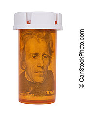 Prescription bottle with Money isolated over white