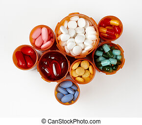 Prescription bottles filled with colorful medications -...