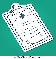Prescription, case history card. - Sketch sticker vector...